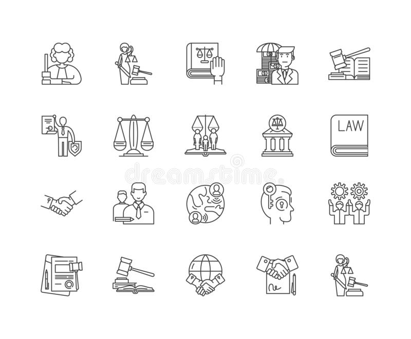 Intellectual property law line icons, signs, vector set, outline illustration concept. Intellectual property law line icons, linear signs, vector set, outline stock illustration