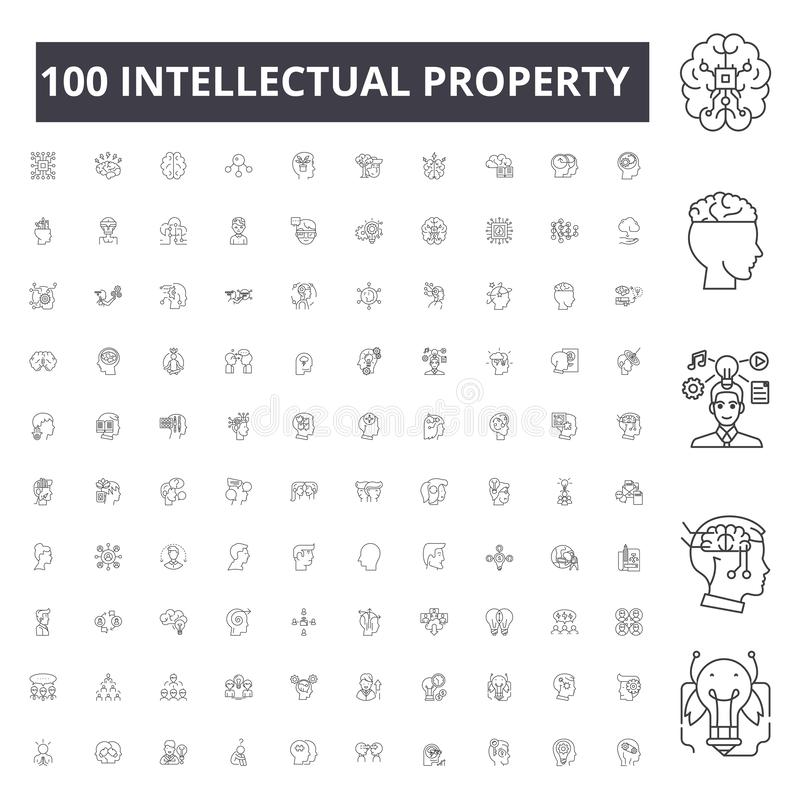 Intellectual property line icons, signs, vector set, outline illustration concept. Intellectual property line icons, signs, vector set, outline concept vector illustration