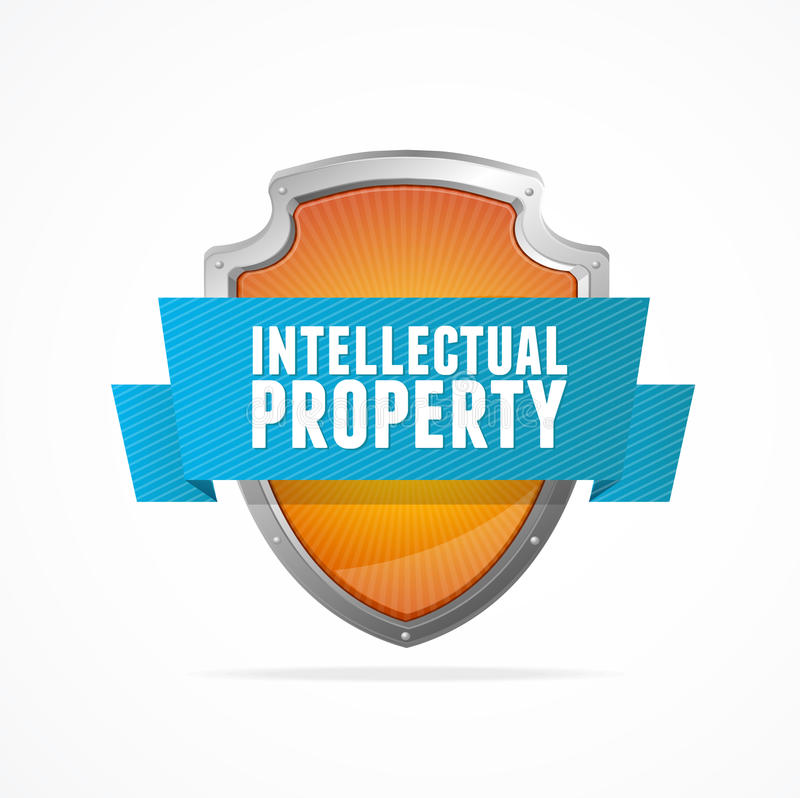 Intellectual Property Protection: Intellectual Property Protect Shield On White Stock Vector