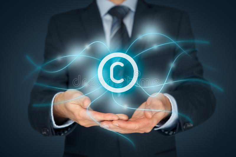 Intellectual property protection and copyright. Intellectual property protection law and rights, copyright and patents concept stock photos