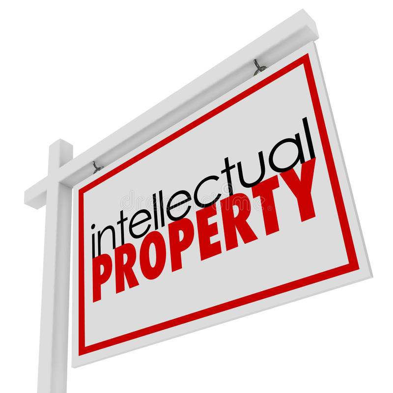 Intellectual Property For Sale Sign Advertising Licensing Origin. Intellectual Property words on a for sale or real estate sign to illustrate original vector illustration
