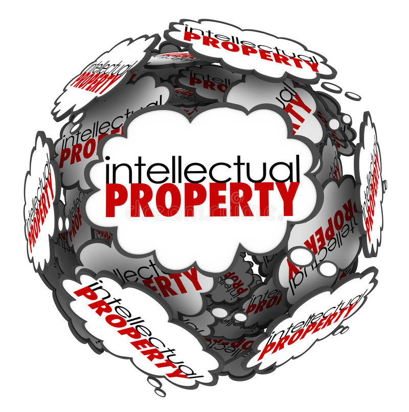 Intellectual Property Thought Clouds Creative Ideas Protected Co. Intellectual Property words in thought clouds arranged in a ball or sphere to illustrate vector illustration