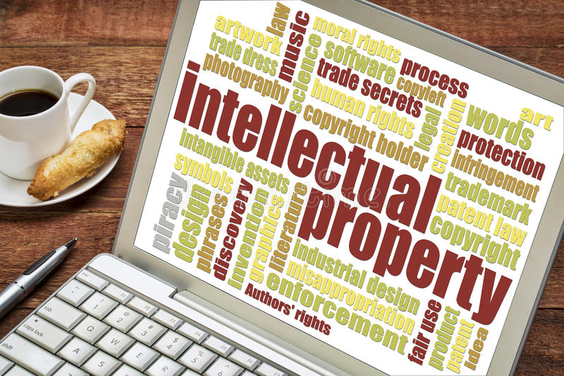 Intellectual property word cloud stock images