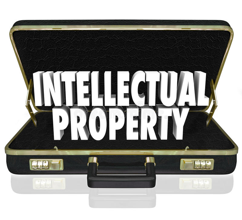 Intellectual Property Words Briefcase Business License Copyright. Intellectual Property 3d words in a black leather briefcase to illustrate a business offering stock illustration