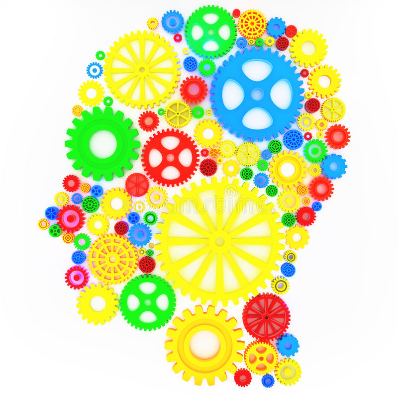 Intellectual thinker. Human head with gears concept stock illustration