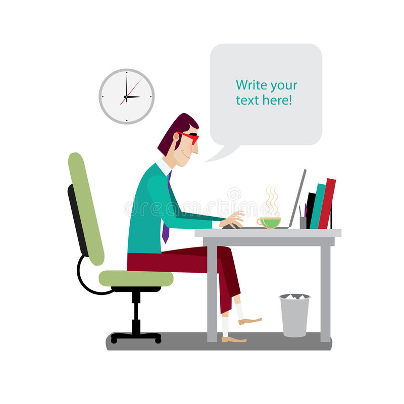 Intellectual working. Vector illustration on white background featuring midday, intellectual with red glasses working at workplace with laptop and says bubble vector illustration
