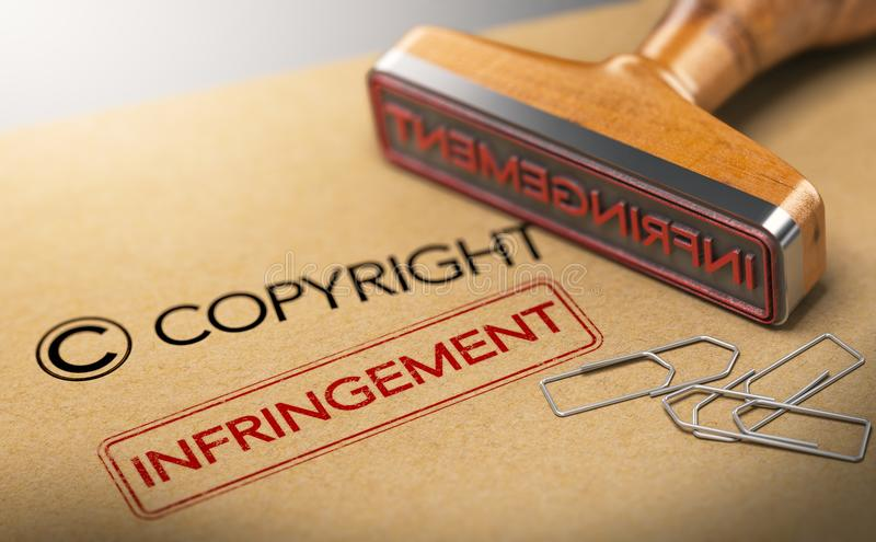 Intellectuele-eigendomsrechtenconcept, Copyright-Overtreding royalty-vrije illustratie