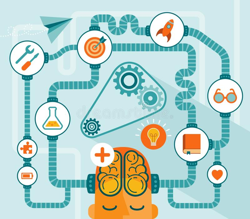 Intellectual creativity and innovation. Icons and graphics related to human intellectual creativity and innovation vector illustration