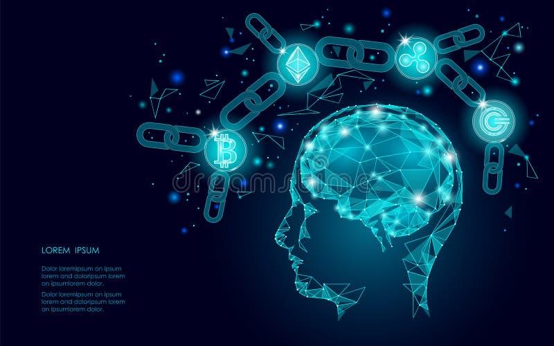 Intellegence för mänsklig hjärna för cryptocurrency för Ethereum Bitcoin krusningsmynt digital artifitial Stort bryta för informa vektor illustrationer