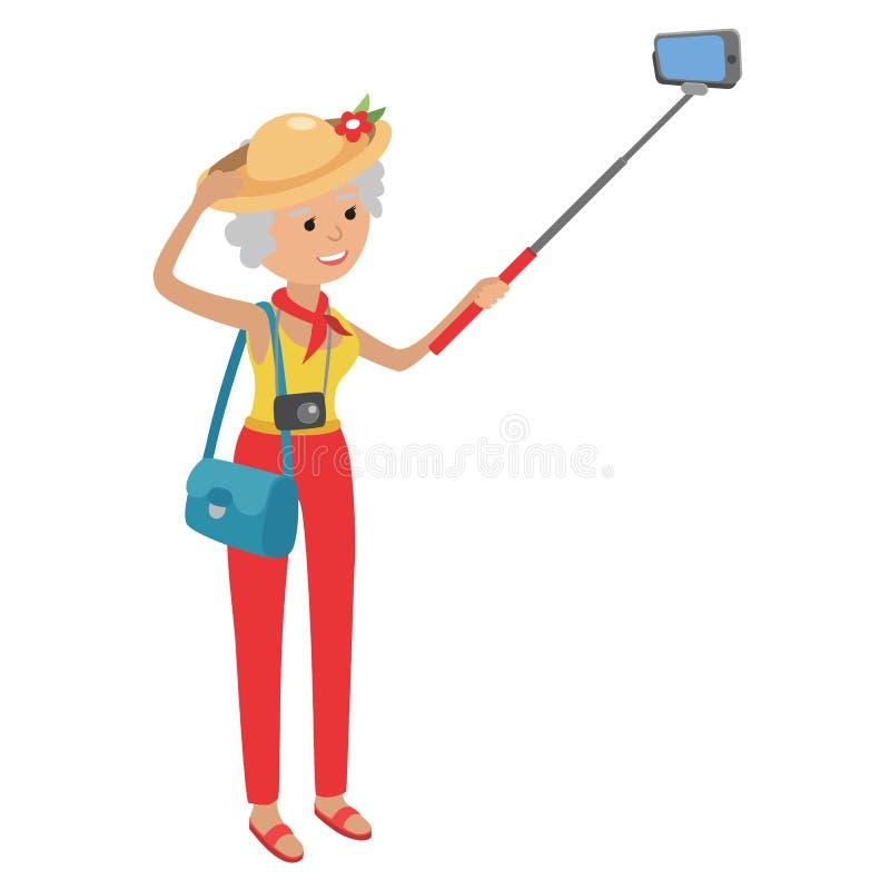 Intellegent modern bejaarde die mobiele telefoon met behulp van De grootmoeder maakt selfie op smartphone stock illustratie