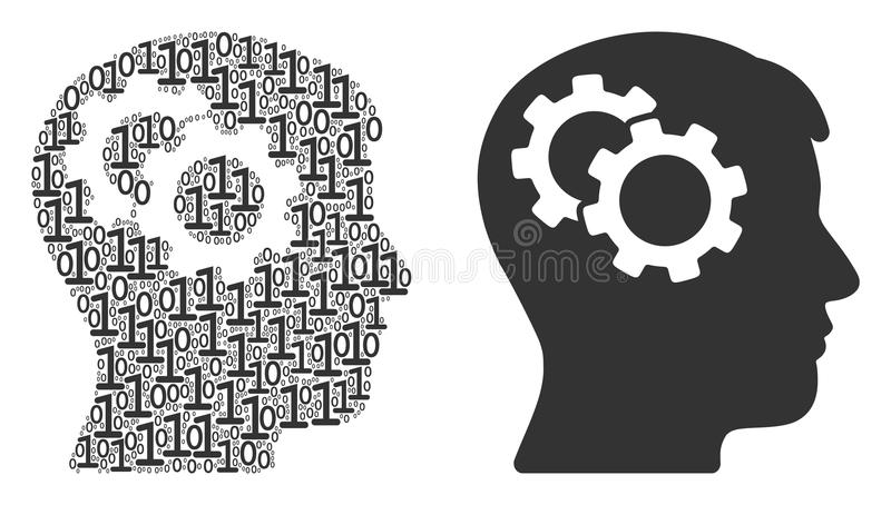 Intellekt utrustar collage av binära siffror royaltyfri illustrationer