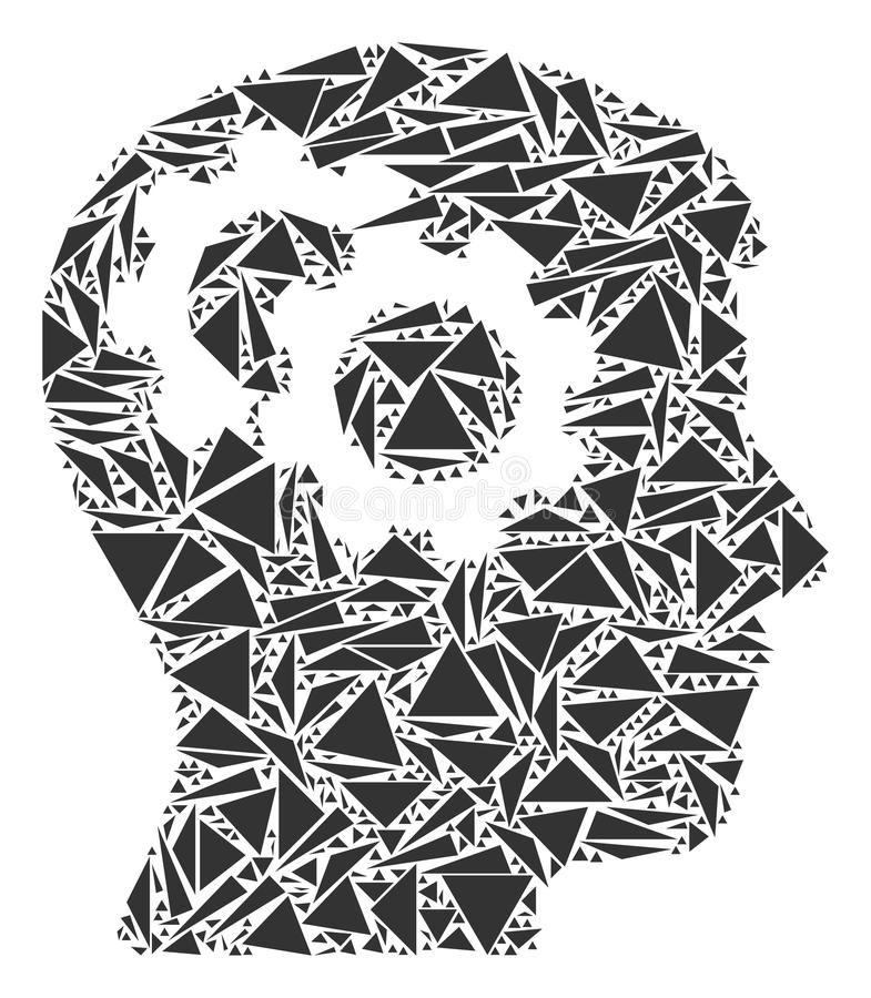 Intellekt utrustar collage av trianglar royaltyfri illustrationer
