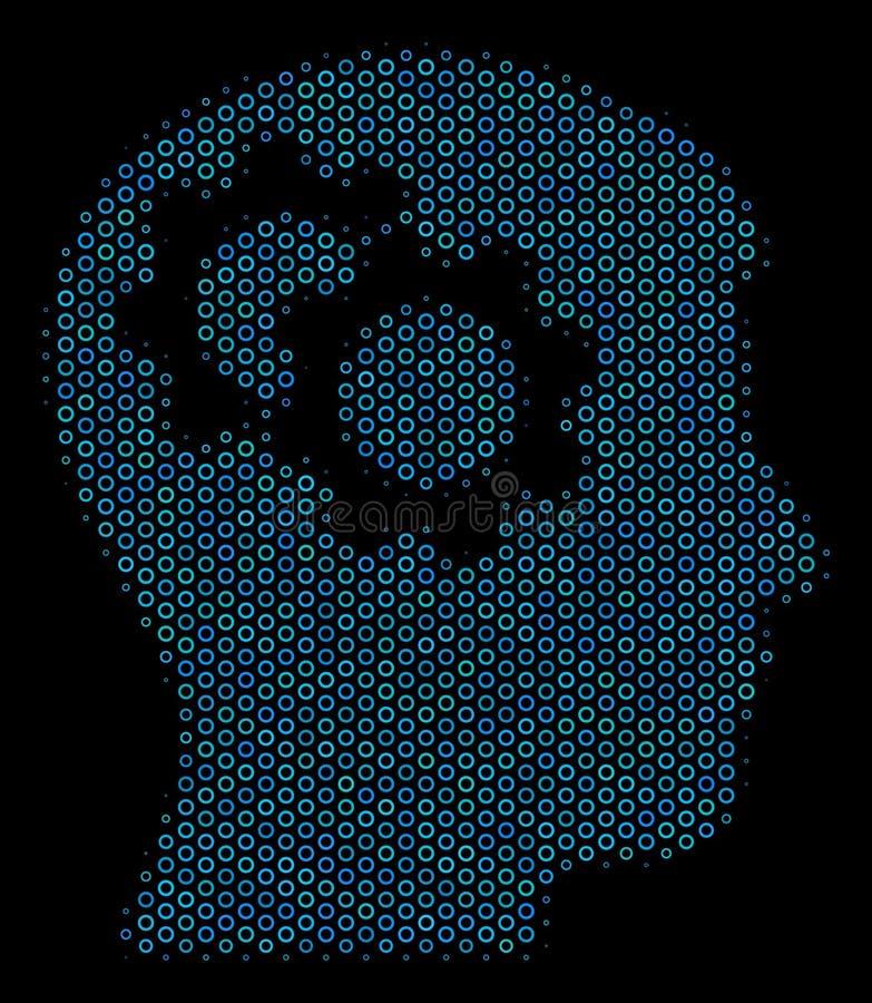 Intellekt utrustar collagesymbolen av rastrerade cirklar vektor illustrationer