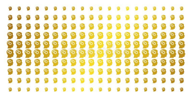 Intellekt utrustar guld- rastrerat raster vektor illustrationer