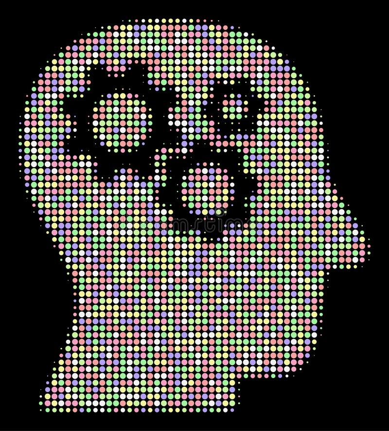 Intellekt utrustar rastrerad sammansättning av prickar stock illustrationer