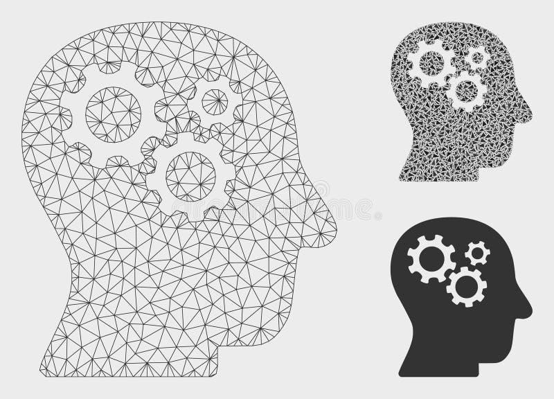 Intellekt utrustar vektorn Mesh Network Model och den mosaiska symbolen för triangel stock illustrationer