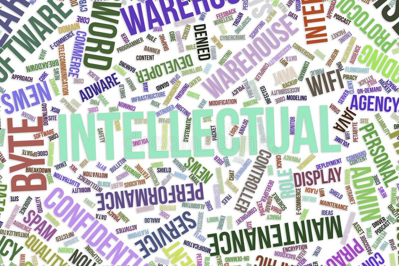 Intellektuell, begreppsmässigt ordmoln för affär, informationsteknik eller IT royaltyfri illustrationer