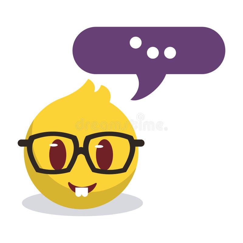 Intellektuell emojiframsida som skriver meddelandet vektor illustrationer