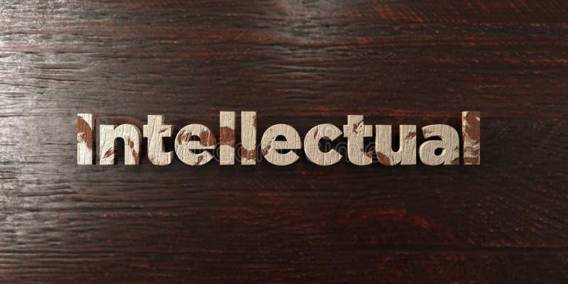 Intellektuell - grungy trärubrik på lönn - 3D framförd fri materielbild för royalty vektor illustrationer