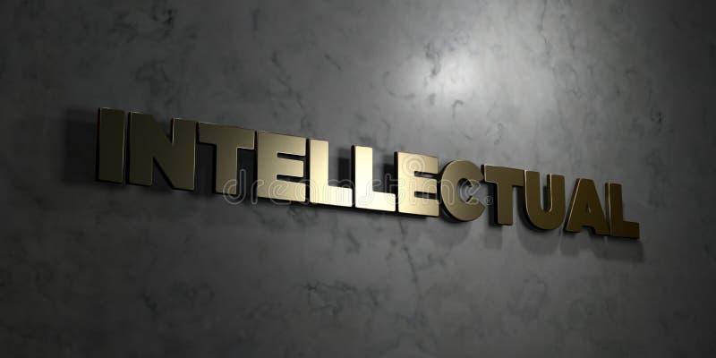 Intellektuell - guld- text på svart bakgrund - 3D framförd fri materielbild för royalty stock illustrationer