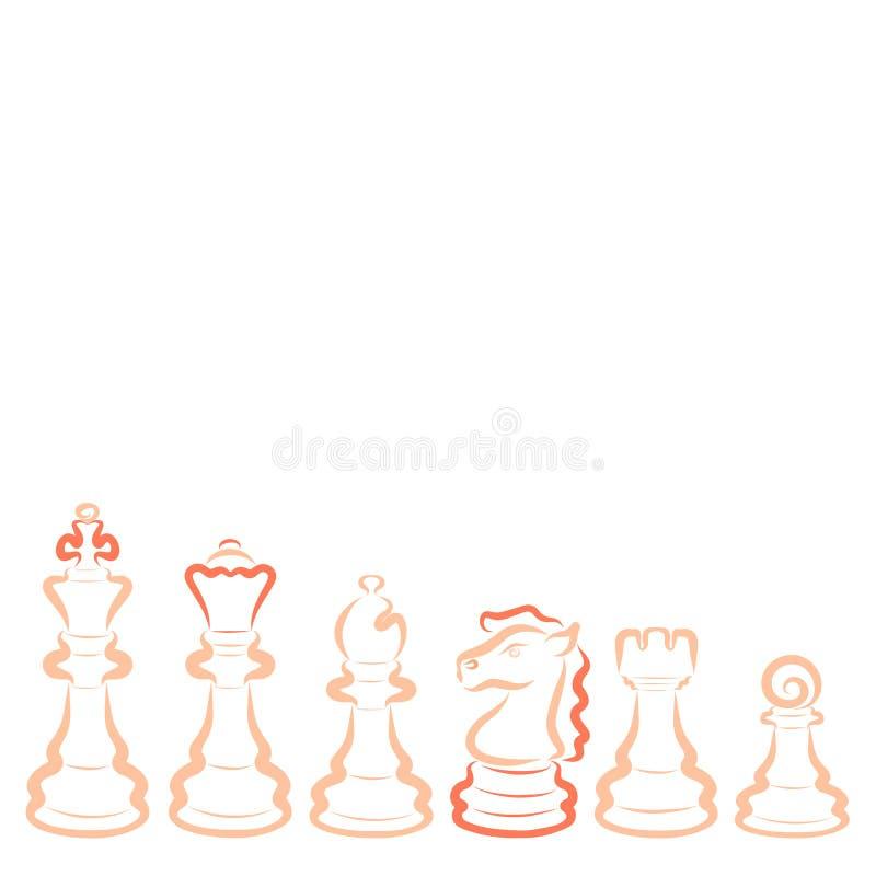 Intellektuell hobby, sex ljusa schackstycken, kontur royaltyfri illustrationer