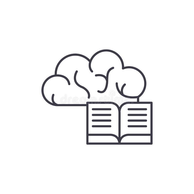 Intellektuell informationslinje symbolsbegrepp Intellektuell linjär illustration för informationsvektor, symbol, tecken stock illustrationer