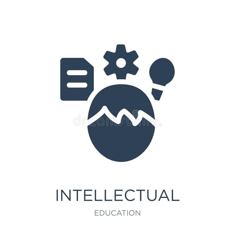 intellektuell symbol i moderiktig designstil intellektuell symbol som isoleras på vit bakgrund intellektuell enkel vektorsymbol o stock illustrationer
