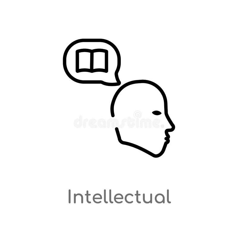 intellektuell vektorsymbol f?r ?versikt isolerad svart enkel linje best?ndsdelillustration fr?n utbildningsbegrepp Redigerbar vek vektor illustrationer