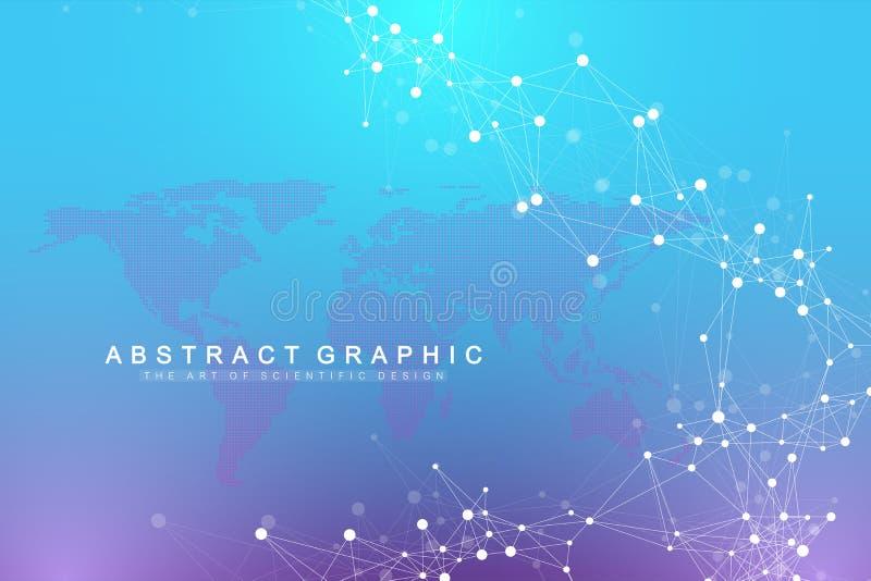 Intelligence artificielle de fond graphique géométrique Traînée d'écoulement de turbulence La science et technologie futuriste illustration stock
