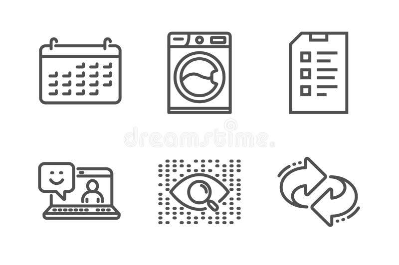 Intelligence artificielle, ensemble d'ic?nes de machine ? laver et de liste de contr?le Souriez, classez et r?g?n?rez les signes  illustration stock