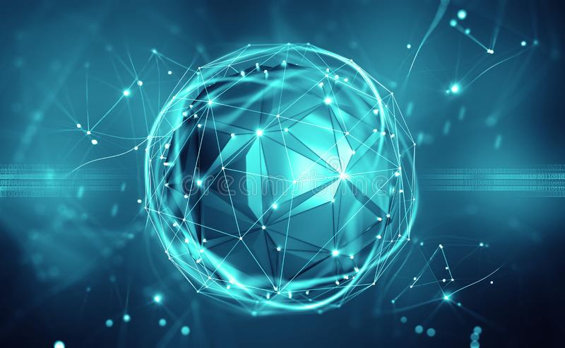 Intelligence artificielle Esprit de Digital Technologie de réseau sans fil illustration de vecteur