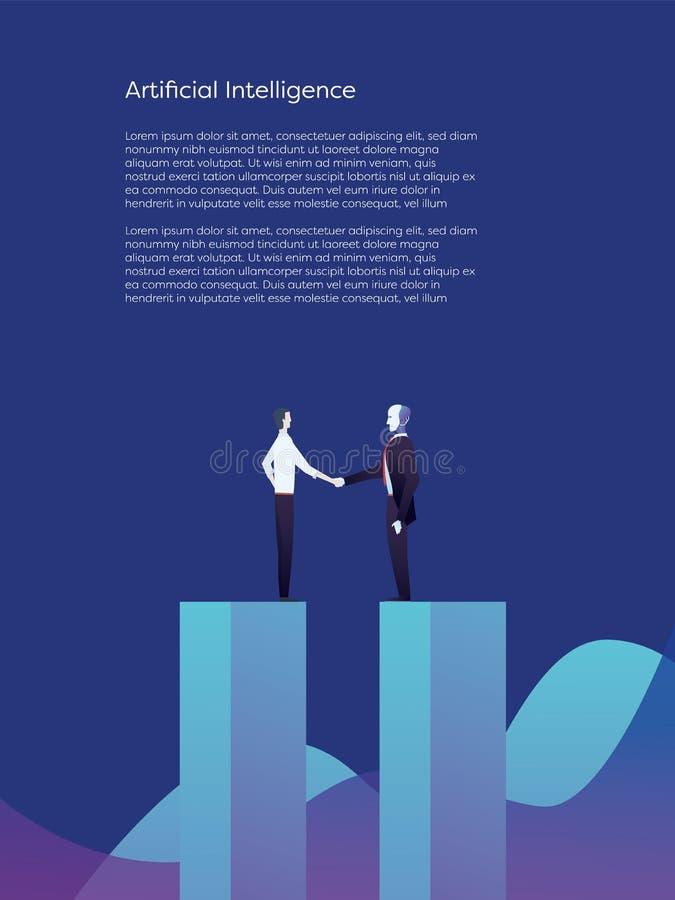 Intelligence artificielle et concept humain de vecteur de coopération L'homme d'affaires donne la poignée de main au robot d'AI d illustration libre de droits
