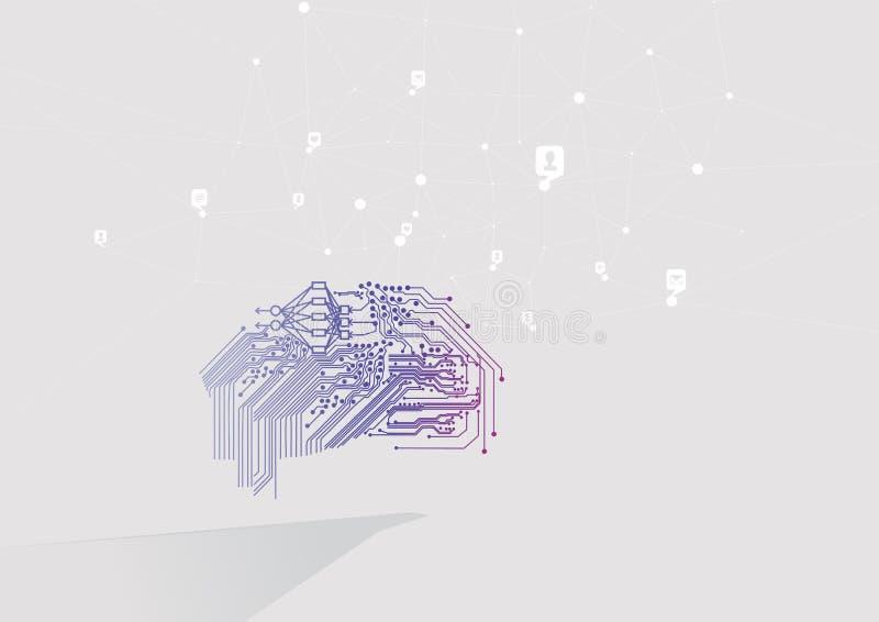 Intelligence artificielle et réseaux sociaux Cerveau de Cyber et analyse de grandes données et interdépendances illustration de vecteur