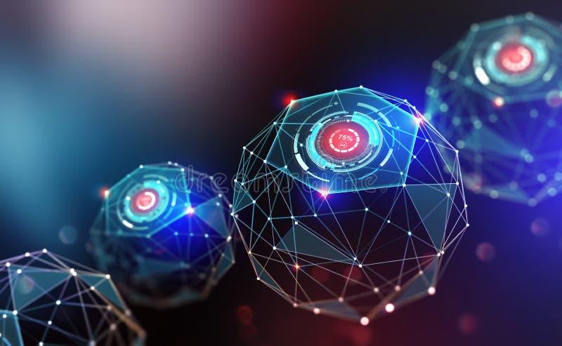 Intelligence artificielle et technologie du sans fil illustration libre de droits