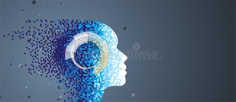 Intelligence artificielle Fond de Web de technologie Concentré virtuel illustration stock