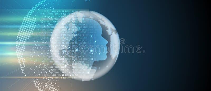 Intelligence artificielle Fond de Web de technologie Concentré virtuel illustration libre de droits
