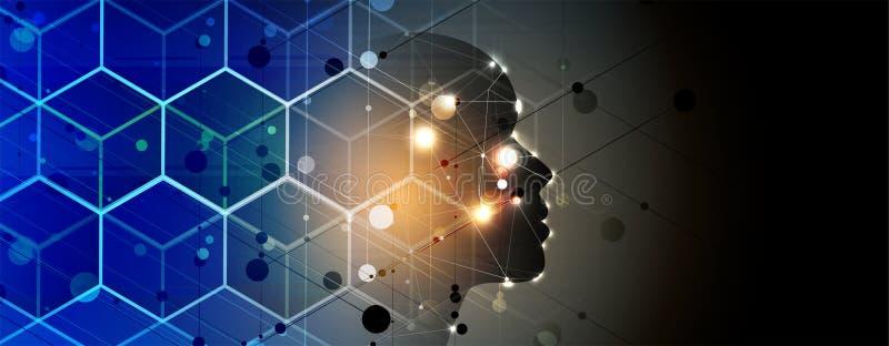 Intelligence artificielle Fond foncé d'hexagone de Web de technologie Concentré virtuel illustration stock