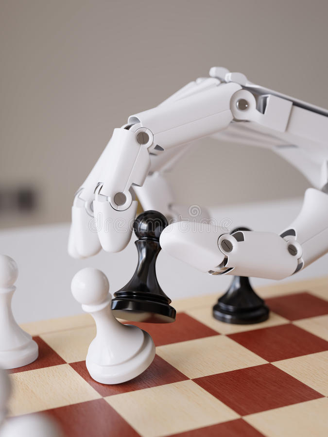 Intelligence artificielle jouant le concept d'illustration des échecs 3d photos libres de droits