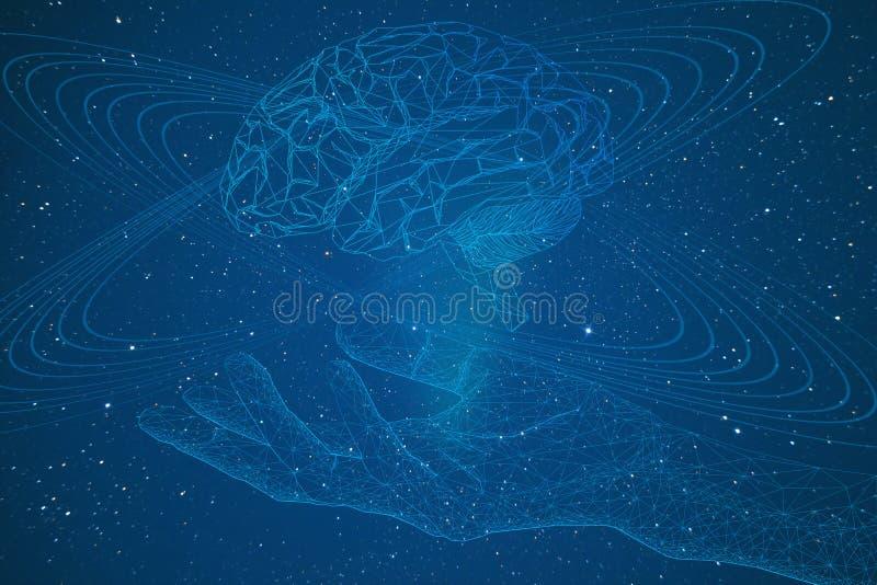 intelligence artificielle, représentation conceptuelle d'un bras de cyborg et cerveau avec les connexions électroniques dans l'es illustration stock