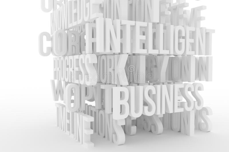 Intelligence, business conceptual gray or black and white B&W 3D rendered words. Positive, abstract, style & illustration. Intelligence, business conceptual vector illustration