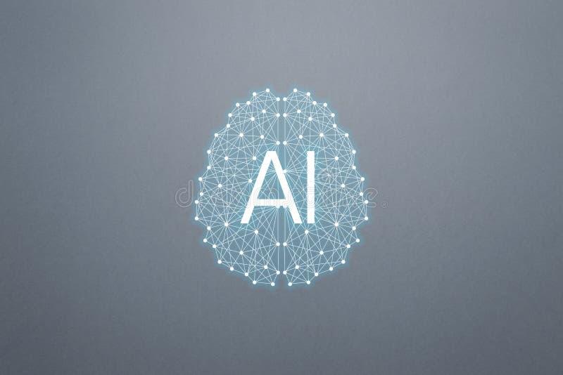 Intelligence d'AIArtificial de concept Réseaux neurologiques, machine et étude profonde illustration libre de droits