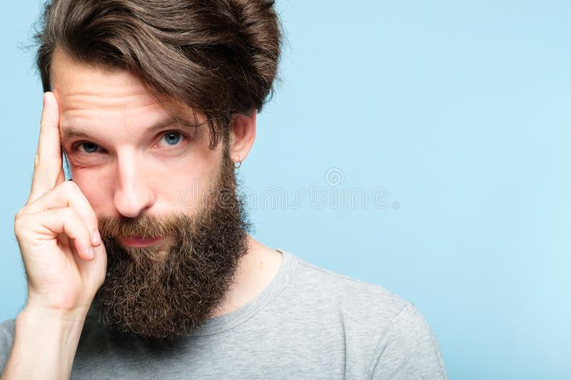 Intelligence smart ideas mind brain power smug man royalty free stock photos