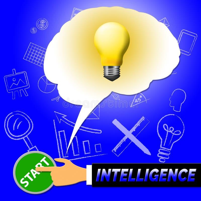 Intelligensljus föreställer intellektuell kapacitet 3d Illustrat vektor illustrationer