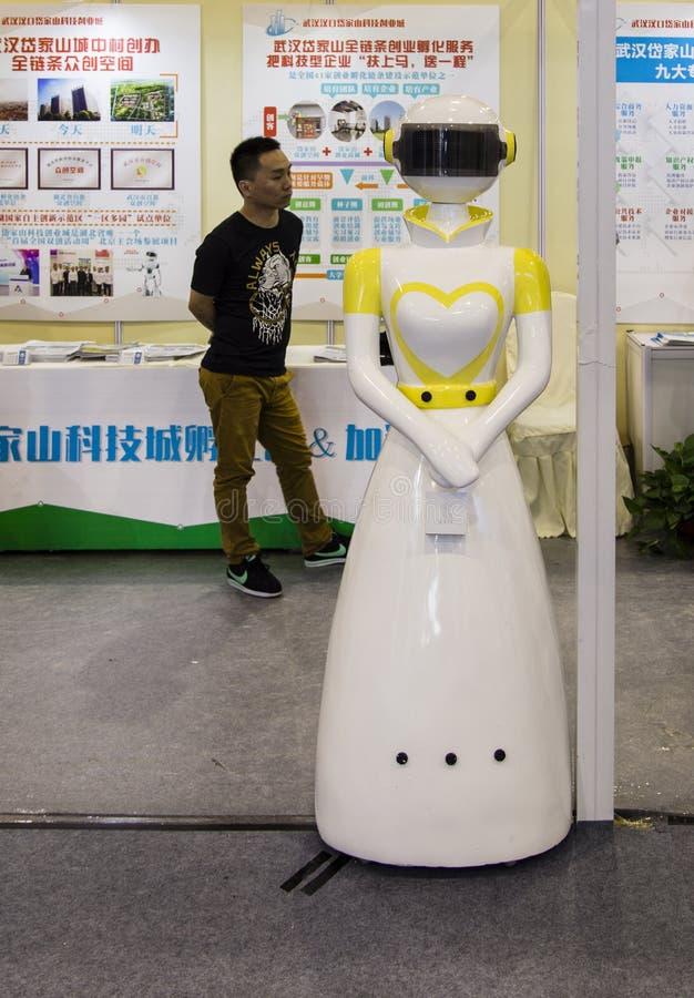 Intelligensrobot i Chengdu innovation 2016 och egenföretagandemässa arkivbilder