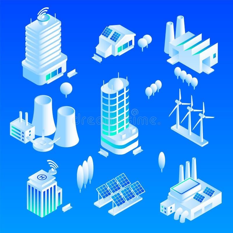 Intelligent byggnadssymbolsuppsättning, isometrisk stil stock illustrationer