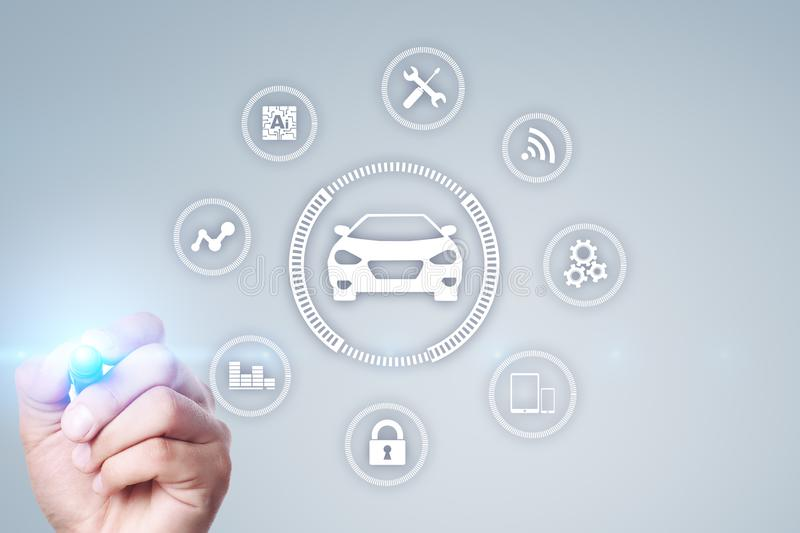 Intelligent car, AI vehicle, smart card. Symbol of the car and icon. Modern wireless communication and IOT concept. stock photo