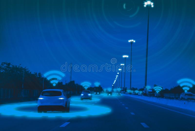 Intelligent car,Autonomous driving,artificial intelligenceAI,sensing system,wireless detect moving objects and people,concept. Future vehicle safety accident royalty free stock photography