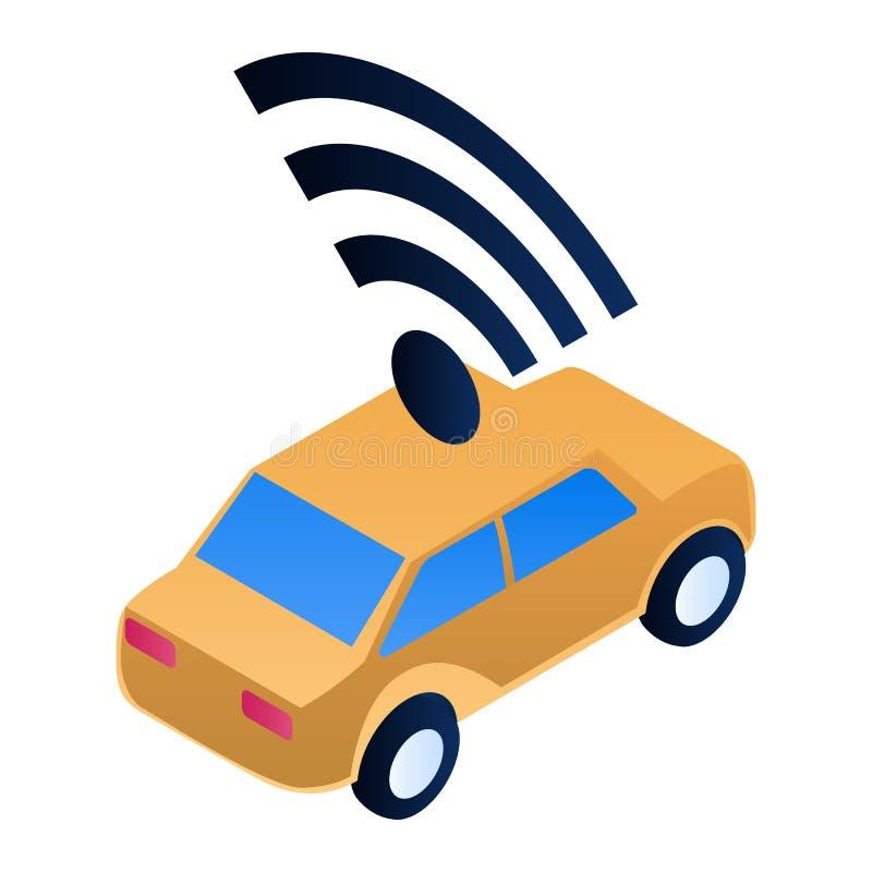 Intelligent car icon, isometric style royalty free illustration