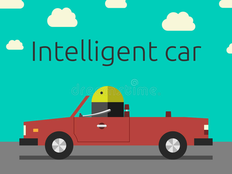 Intelligent car with robot vector illustration