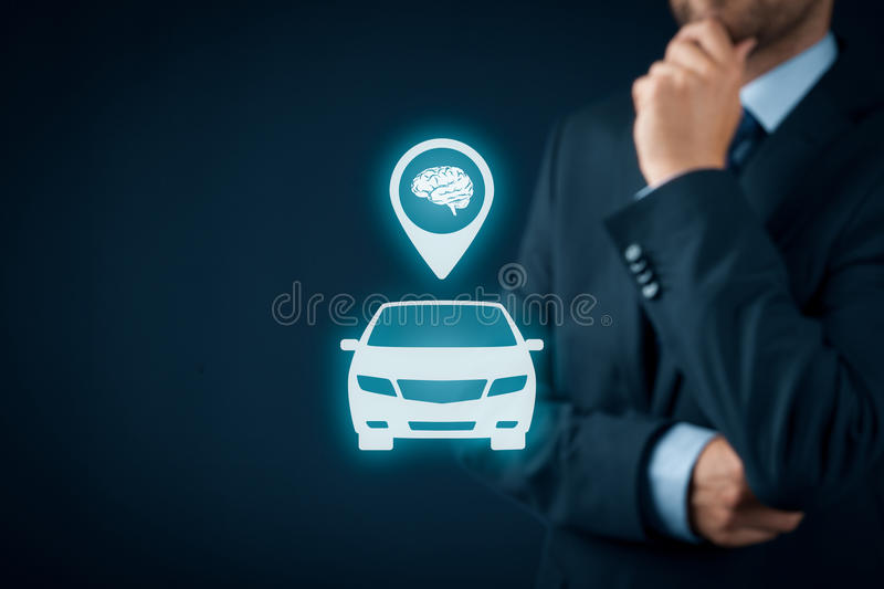 Intelligent car. Intelligent vehicle and smart cars concept. Symbol of the car and human brain royalty free stock photography